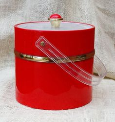 Mid Century Culver Ice Bucket Red vinyl with by TrellisLaneVintage, $19.50