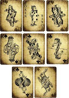 De inspiración vintage, Alice In Wonderland Grunge Naipes Scrapbooking S/8 Set 2 | Hogar y jardín, Tarjetas y suministros para fiestas, Tarjetas de saludo e invitaciones | eBay!
