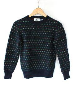 Vintage 70s Sweet Navy Floral Shrunken Sweater // Womens Cabinwear. $34.00, via Etsy.