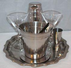 Vintage 9 Piece Cocktail Set for 2 - Alessi Shaker, Schott Zwiesel Glasses - vgc