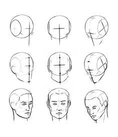 Site with digital painting tutorials - learn how to paint in Photoshop! Human Face Sketch, Human Face Drawing, Drawing Heads, Guy Drawing, Drawing Practice, Figure Drawing, Drawing Faces, Anatomy Art, Anatomy Drawing