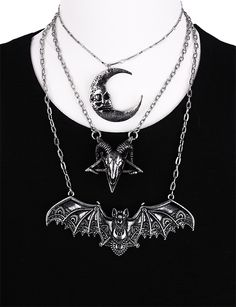"""One of a kind Bat pendant, Lace wings, gothic necklace """"LACE BAT SILVER PENDANT"""" from one of a kind gothic brand in the World. Check out our unique clothes, accessories and more shipped worldwide! Halloween Jewelry, Halloween Gifts, Steampunk, Gothic, Maleficent Costume, Magical Jewelry, Rock, Unique Outfits, Antique Silver"""