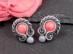 Grey soutache earrings with pink coral and jade. Small gemstone earrings. Elegant, Bohemian chic studs. Orecchini soutache Gift for Wife mom