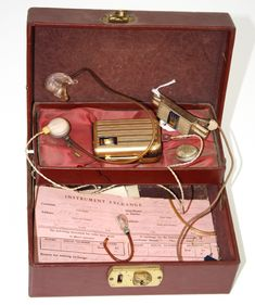 vintage hearing aid with attachments 1953