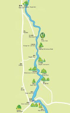 guilin tour, li river tour map www.westchinago.com info@westchinago.com
