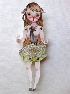 OOAK Original Hand Painted Paper Doll  Maze by GentlyEthereal, $28.00