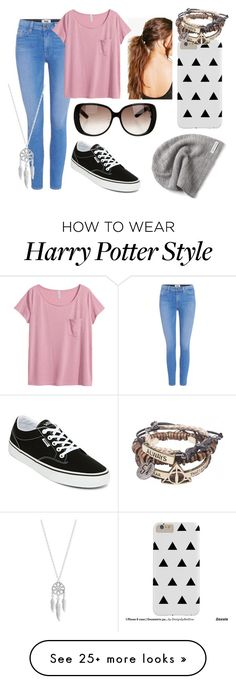 """""""Casual Friday"""" by pandapotter26 on Polyvore featuring Boohoo, Paige Denim, H&M, Vans, Gucci, Converse and Lucky Brand"""