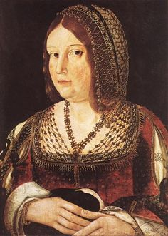 1490 portrait of a Lady with a Hare by Juan de Borgona in a netted cap worn over the Tranzado