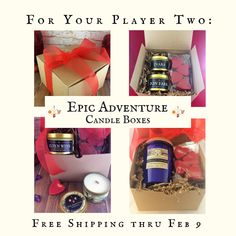 PLAYER TWO <3 2 Candles & 4 Tarts | Geek Valentine Gift | Wood Wick, Soy | Book-Fantasy-RPG-SciFi | Gold Fantasy Tins | Ships Free thru 2/9 Candle Box, Fantasy Rpg, Geek Gifts, Tins, Soy Candles, Valentine Gifts, Geek Stuff, Adventure, Book