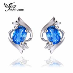 Natural Cut 925 Sterling Silver London Blue Earrings