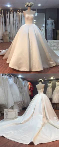Gorgeous Satin Ball Gowns Strapless Wedding Dresses For Bride by MeetBeauty, $221.08 USD