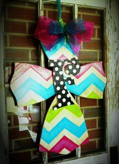Hand painted Wooden Chevron Cross w/ Polka Dot by 3PeasinaBucket, $55.00