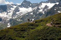 Hiking around Timmelsjoch pass. Timmelsjoch, is a high mountain pass that creates a link through the Ötztal Alps along the border between Austria and Italy.