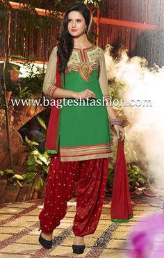 Attractive Green Cotton Kameez #indian #Womenswear #IndianFashion #wedding #Bride #Desi #designer #Beauty #Fashion #Style #Suits #SalwarKameez #Salwarsuits #Pakistanisuits #Desigirl #patialasuits #Patiala #Panjabi