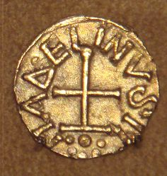 Frankish gold Tremissis issued by minter Madelinus Dorestad the Netherlands mid 600s