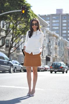 Simple and pretty.   9to5Chic: White and Tan
