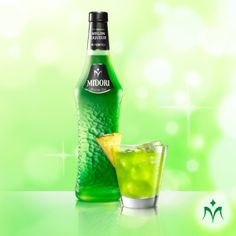 MIDORI PINEAPPLE: Super simple and delicious cocktail to start an amazing night! For recipe, visit http://apps.facebook.com/midoricocktails?app_data=2