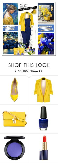 """""""Blue and Yellow"""" by eula-eldridge-tolliver ❤ liked on Polyvore featuring Gianvito Rossi, River Island, Dolce&Gabbana, OPI, MAC Cosmetics, Estée Lauder and Chanel"""