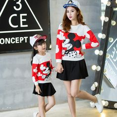 Family Clothing 2015 Mother Daughter Matching Outfits Autumn Fashion Mom Girl…