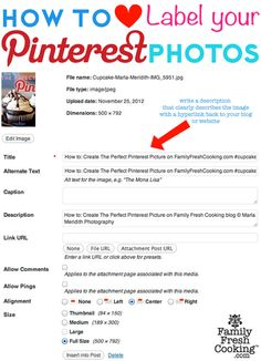 How to Label your photos for Pinterest from FamilyFreshCooking.com