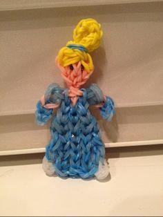 Kelly Serrell Motta. Rainbow Loom.  CINDERELLA. See PG Loomacy ANGEL tutorial for dress.