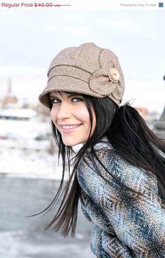 Womens Newsboy Hat- Etta - brown wool tweed. $45.00, via Etsy. MED