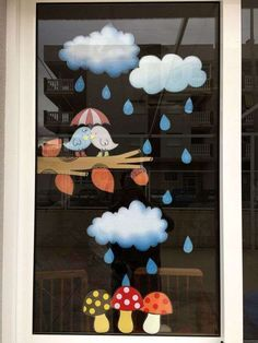 20 Beautiful Decorating Ideas Are Right For Window In The Rainy Season Preschool Crafts, Diy And Crafts, Crafts For Kids, Arts And Crafts, Paper Crafts, Class Decoration, School Decorations, Autumn Crafts, Autumn Art