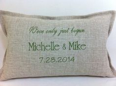 Pillow We've only just begun with your names by AudreysHandMade, $58.00