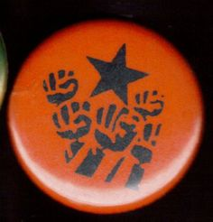 "STENCILED RAISED FISTS pinback button badge 1.25"" $1.50 plus shipping!"