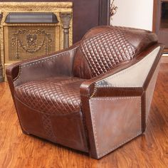 Features:  -Material: Top grain leather.  -Sturdy construction.  -Color: Brown.  -Neutral colors to match any décor.  Frame Finish: -Brown.  Upholstered: -Yes.  Frame Material: -Wood/Manufactured wood