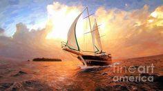 Title:  In Full Sail - Oil Painting Edition   Artist:  Lilia D   Medium:  Digital Art - Digital, Painting, Artwork, Art, Canvas, Print, Metal, Acrylic
