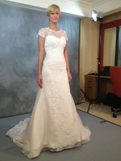 """Martha Stewart Wedding """"How gorgeous is this Jenny Lee dress?! It features 3 different laces and a soft champagne color. So gorgeous."""""""