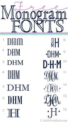 FREE Monogram fonts via @Diane Haan Lohmeyer Henkler {InMyOwnStyle.com} by CA Carlson