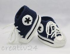 Babyschuhe+-+Turnschuhe+gehäkelt+marine+von+creativ24+auf+DaWanda.com