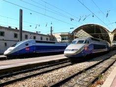 Les TGV aux départ en Gare de Nice du puissance unitaire pouvant allé à 9280 et 8800 kW aptes à 320 km/h. http://www.panoramio.com/user/354935/tags/TGV
