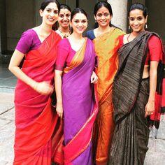 Traditional colorful saris on a group of beautiful indian women Indian Silk Sarees, Indian Fabric, Indian Look, Indian Ethnic, Indian Style, Indian Attire, Indian Wear, Bride Indian, Indian Dresses