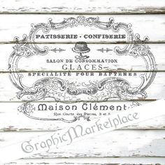 Patisserie Confiserie Label Instant Download Transfer Burlap digital collage sheet graphic printable No. 1147