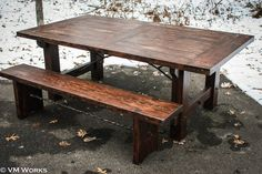 A timber and steel dining table and bench. http://www.facebook.com/MadeByVMWorks