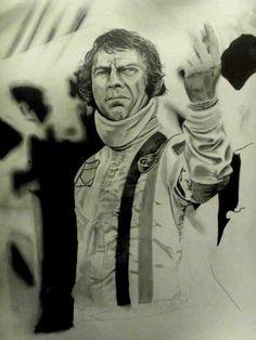 Steve McQueen, Le Mans. Pencil portrait. http://www.thegalleryofspeed.com/ #motorsport #f1 #automotive #formula #one #race #car #lemans #btcc #le #mans #auto #art #mcqueen #steve #bullitt #mustang
