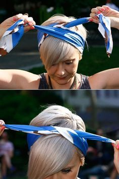 ▷ inspiring ideas for cool bandana hairstyles kurze, glatte, blonde haare, bandana binden - Unique Long Hairstyles Ideas Bandana Hairstyles Short, Short Hair Outfits, Headband Hairstyles, Diy Hairstyles, Hair Styles Headband, Summer Hairstyles, Hairstyles Videos, Pixie Haircuts, How To Wear Headbands