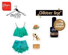 Para los últimos días de verano os proponemos este outfit playero, Combínalo con nuestro esmaltado permanente de uñas Glitter Dorado