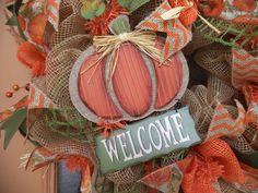 Deco Mesh FallAutumnDecorative Door Wreath by DecoDzigns on Etsy