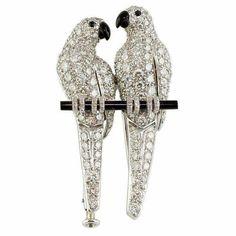 Cartier platinum, diamond and onyx Love Birds, circa 1920