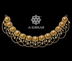 A-Sirkar Kalyani Necklace in gold with pearls Gold Earrings Designs, Gold Jewellery Design, Necklace Designs, Gold Jewelry, Jewelery, Anklet Designs, Gold Bangles, Jewelry Accessories, India Jewelry