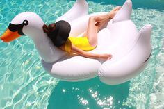 Every pool party needs a giant swan!
