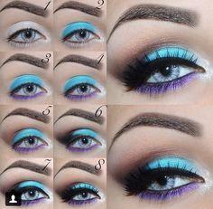 Makeup | bright blue eye makeup | aqua eyeshadow look
