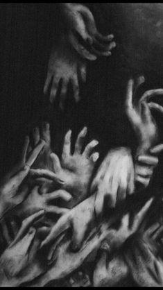 art trippy Black and White creepy weird hands dark strange surrealism surreal bi. art trippy Black and White creepy weird hands dark strange surrealism surreal bizarre Surreal Art Charcoal Art, Charcoal Drawings, Arte Obscura, Photo Vintage, Arte Horror, Horror Art, Art Inspo, Art Drawings, Contour Drawings