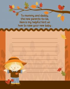 Scarecrow Fall Theme - Baby Shower Notes of Advice