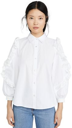 Clu Ruffle Detailed Shirt In White Clu, Smocking, Fashion Forward, Collars, Ruffle Blouse, Detail, Long Sleeve, Pretty, Cotton