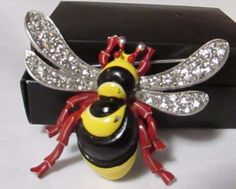 Vintage Trifari Bee Brooch Pin Figural 1940's RARE Rhinestone Enamel Philippe #Trifari
